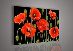 3 unidades de arte de la pared no en contra de acrílico abstracta moderna flores rojas de la amapola pintura al óleo en el paño