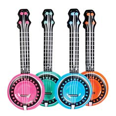 Inflatable banjo with strings, ideal inflatable instrument for a musical fancy dress party. Available in four colours, pink, blue, orange and green
