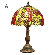 12inch European Pastoral Retro Style Table Lamp Red Grapes Pattern Shade Bedroom Living Room Dining Room Lights