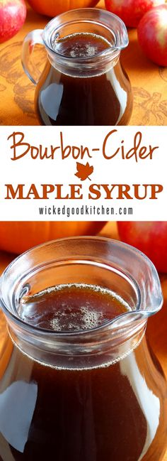 A distinctive and flavorful maple syrup made with an apple cider reduction for lazy weekend breakfasts and holiday or special occasion brunches. Recipe includes variations for Orange Bourbon-Cider Maple Syrup, Spiced Bourbon-Cider Maple Syrup and Spiced Orange Bourbon-Maple Syrup. It's the perfect syrup for French toast, pancakes, waffles and more. Irresistible! | breakfast brunch recipe