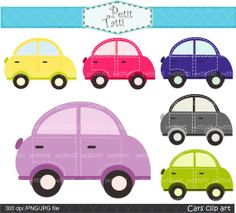 Digital clip art  for all use, cute car clip art , pink, blue, purple, green, cars , instant download car clip art