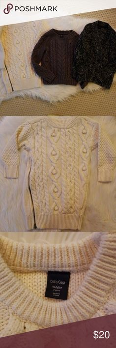 Baby Gap Sweater Bundle Baby Gap Girls 2T White Sweater Dress | Adorable Side Zipper Black & White Cardigan Gray Cable Knit GAP Shirts & Tops Sweaters