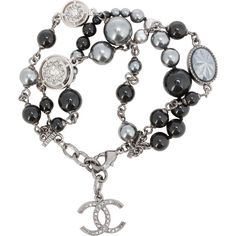 Pre-Owned Chanel Black Pearl and Crystal Triple Strand Bracelet ($750) ❤ liked on Polyvore featuring jewelry, bracelets, crystal jewelry, adjustable bangles, crystal bangles, chanel jewelry and crystal charms