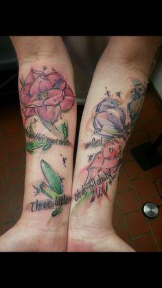 My #threelittlebirds #tattoo in #watercolor #bobmarley #forearm
