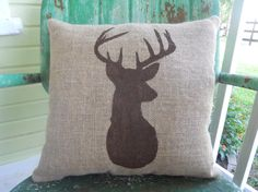 Painted Burlap Deer Throw Accent Pillow Custom Colors Available Home Decor