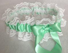 Mint Green and White Lace Wedding Garter, Prom Garter, Bridal Garter, Weddings, Bridesmaid Gift, Homecoming Garter, Bridal Gift