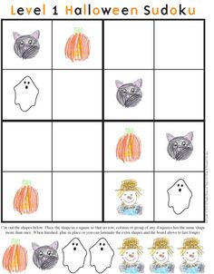 Picture Sudoku-@Nancy Carlson    The Kid Giddy Craft, DIY, Sewing, Recipe, Mom Blog by Kerry Goulder: Giddy Up Friday: HALLOWEEN Sudoku - Printables