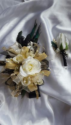 Black& Champagne Corsage & Boutonniere Set Wedding or Prom | Corsage ...