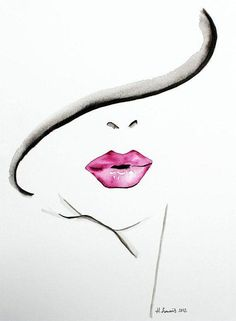Original Fashion and Beauty Illustration of womans lips by Helen Simms, simple watercolour portrait painting art print Watercolor Portrait Painting, Easy Watercolor, Watercolor Fashion, Painting Art, Mouth Painting, Watercolor Face, Dress Painting, Portrait Paintings, Fashion Painting