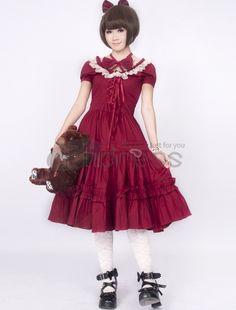 Lolita Dresses-Cotton Red Lace Classic Lolita Dress