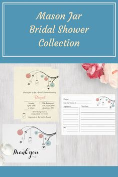 Mason Jar Bridal Shower Collection. Invitations, thank you cards, stickers, recipe cards. #zazzle #ad #masonjars