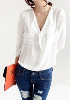 s a t u r d a y // http://www.cichic.com/white-pockets-peak-lapel-seven-s-sleeve-wrap-chiffon-blouse.html