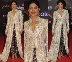 Priyanka Chopra at Star Dust Awards 2016, Priyanka Chopra in designer Anamika Khanna Outfits, Celebrities in Anamika Khanna Outfits.