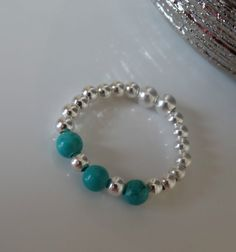 STRETCH RING BLUE TURQUOISE WITH SILVER