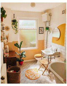 Bathroom Inspiration, Home Decor Inspiration, Decor Ideas, Wall Paint Inspiration, Bathroom Ideas, Yellow Accent Walls, Yellow Walls Living Room, Orange Walls, Half Painted Walls