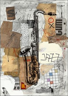 ART PRINT canvas Reproduction Painting Saxophone Jazz Gift Illustration Drawing Mixed media collage autographed Mirel E.Ologeanu wall decor by rcolo on Etsy