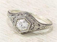 antique diamond and platinum ring