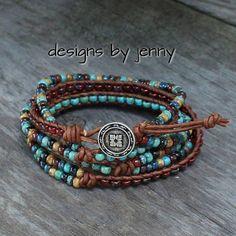 Beaded Leather Wrap Bracelet, Beaded Leather Bracelet, Seed Bead Leather Wrap Bracelet, Bohemian Jewelry, Boho Style, Turquoise Beads by hodgepodgecandles on Etsy