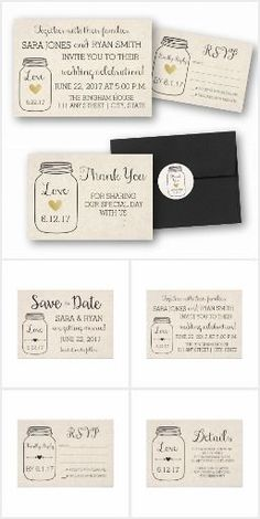 Mason Jar Wedding Suite with Pale Kraft Background. Click through for Save the Dates, invites, rsvps, details cards, and more. Click through for more designs for weddings, birthdays, anniversaries, and more.