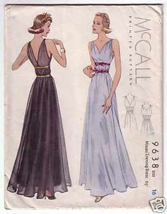 McCall 9638 ....... Vintage size 16: 34 inch Bust, 28 inch Waist, 37 inch Hip ....... Dated 1938 ....... Glamorous 30s Deco era Evening or Formal Gown with shirred details at the shoulder straps and a