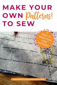 Why not make your own sewing patterns? Here are five different ways that YOU can make your own sewing patterns so that the DIY clothes you make for yourself, fit better than any commercial sewing pattern! You don't need to know pattern drafting to make your own sewing patterns - there are four other methods you can use to make sewing patterns for yourself and for others! Sewing Tips, Sewing Hacks, Make Your Own, Make It Yourself, How To Make, Pattern Drafting, Pattern Making, Diy Clothes, Stitching