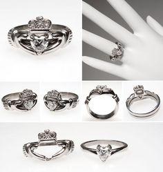 I want, I want, I WANT! Irish Claddagh Heart Diamond Engagement Ring Wedding Set Platinum - EraGem