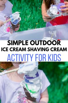 Simple Ice Cream Shaving Cream Activity for Kids - Active Littles Puffy Slime Recipe, How To Make Foam, Shaving Cream Painting, Pistachio Ice Cream, Foam Shapes, Messy Play, Outdoor Classroom, Outdoor Learning, So Creative