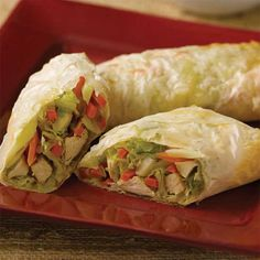 Baked Egg Rolls Instructions: Place the egg rolls on a nonstick baking sheet, and bake for 15–20 minutes, or until brown and crisp and chicken is reheated.