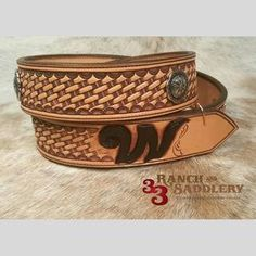 Custom basket tooled belt with conchos and initial by 33 Ranch & Saddlery Leather Tool Belt, Leather Tooling, Leather Suspenders, Leather Carving, Leather Craft, Ranch, Gallery, Custom Belts, Handmade