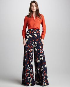 If I knew how to sew better - I'd be looking for some serious fabric. These trousers are incredible.    Daisy-Print Wide-Leg Pants by Alice + Olivia at Neiman Marcus.