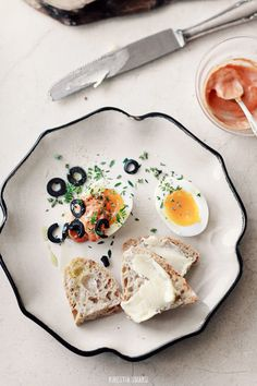 Perfectly boiled egg, olives, thyme and sun-dried tomato mayo