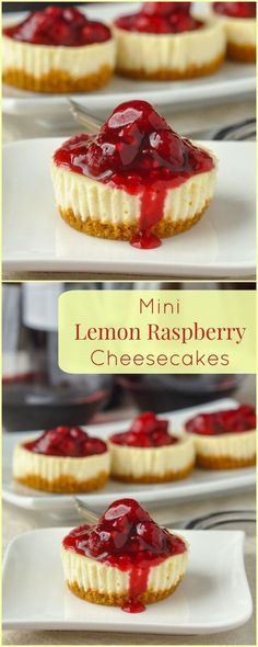 Mini Lemon Cheesecakes with Raspberry Sauce - at only 200 calories each, this recipe yields 12 perfect little portions of cheesecake to let you indulge without a huge calorie binge. It's a perfect Val (Lemon Cheesecake Recipes) Mini Desserts, Brownie Desserts, Just Desserts, Delicious Desserts, Yummy Food, Desserts With Raspberries, Blueberries, Spanish Desserts, Baking Desserts