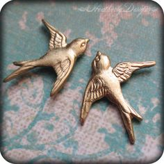 Swooping Swallows: matte gold swallow on .925 sterling silver post earrings