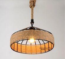 Nordic Vintage chanvre industriel corde lumières pendentif accroché lampes pays d'amérique rétro Hanglamp pour Restaurants luminaires(China (Mainland))