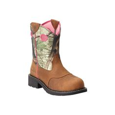 Women's Ariat Fatbaby Cowgirl Steel Toe - Toasted Auburn/Camo Full... ($103) ❤ liked on Polyvore featuring shoes, boots, brown, knee high cowgirl boots, brown boots, ariat boots, western cowboy boots and embroidered cowboy boots