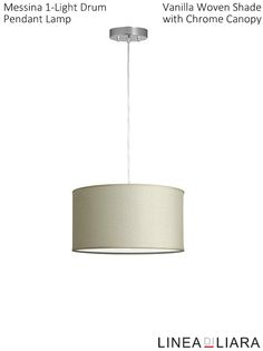 Messina 1-Light Drum Pendant Lamp- Vanilla Woven Shade with Chrome Canopy by Linea di Liara ✦ Uses 1 Medium Base (E26) Bulb - 100W Max (Not Included) ✦ http://lineadiliara.com/collections/pendant/products/messina-pendant #Lighting
