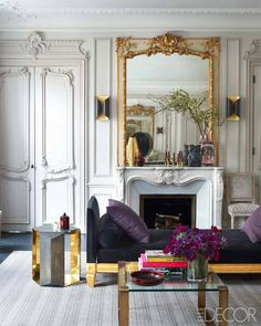 A Glamorous Paris Apartment by Champeau in Elle Decor.  Glamorous metallic details.