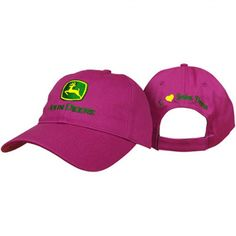 "John Deere ""I Love JD"" Logo Hat Fuchsia Licensed Merchandise ""I love John Deere"" on reverse Embroidered Logo Western Hats, Western Outfits, John Deere Store, John Deere Hats, Lady Logo, Fedora Hat Women, Caps For Women, Cowgirl Style, Bellisima"