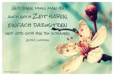Mandelblüte mit dem Astrid Lindgren Zitat: Und dann muss man ja auch noch Zeit haben, einfach dazusitzen und vor sich hin zu schauen. Astrid Lindgren