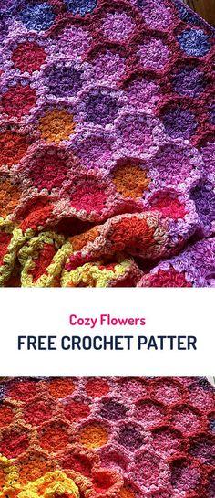 Cozy Flowers Free Crochet Pattern #crochet #crocheting #crocheted #yarn #handmade #crafts