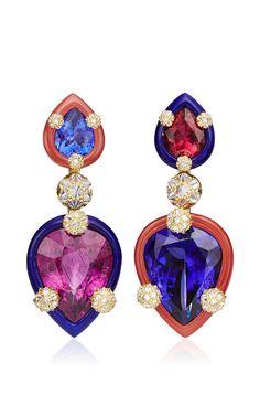 Nicholas Varney Tanzanite, Pink Tourmaline, Diamond, Lapis And Bustamite Duo Earrings