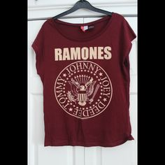 Super-soft poly cotton unisex v-neck t-shirt with Ramones logo print on  front. Custom Ramones tagging in collar. 38bb8296c