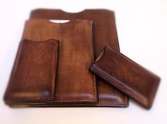 Tough, water hardened leather sleeves for the iPad, iPad Mini and iPhone.