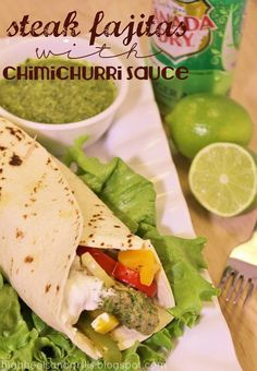 Steak Fajitas with Chimichurri Sauce. Tasty twist on traditional fajitas!