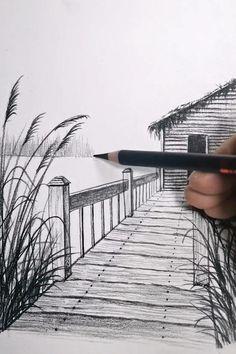 Drawing Scenery, 3d Art Drawing, Art Drawings For Kids, Art Drawings Sketches Simple, Painting & Drawing, Bridge Drawing, Landscape Pencil Drawings, Pencil Art Drawings, Pencil Sketches Landscape