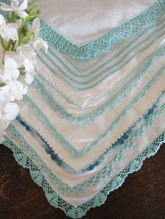 7 FINE Antique Teal Blue & White Lace Hankerchiefs ~ Bridemaid Momentos | eBay | Vintageblessings