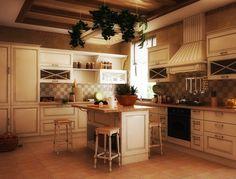 Traditional Kitchen Interior Design With White Cabinet And Granite Countertop