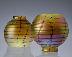 "2.25/"" Replacement Golden Tulip Shades Iridescent Art Nouveau Glass Shades"