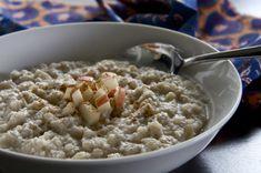 He won't know it's paleo:  Breakfast porridge made with cauliflower, coconut, apple and cinnamon, chopped dates, vanilla.