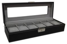 Watch-Box-6-Mens-Black-Leather-Display-Glass-Top-Jewelry-Case-Organizer-Storage